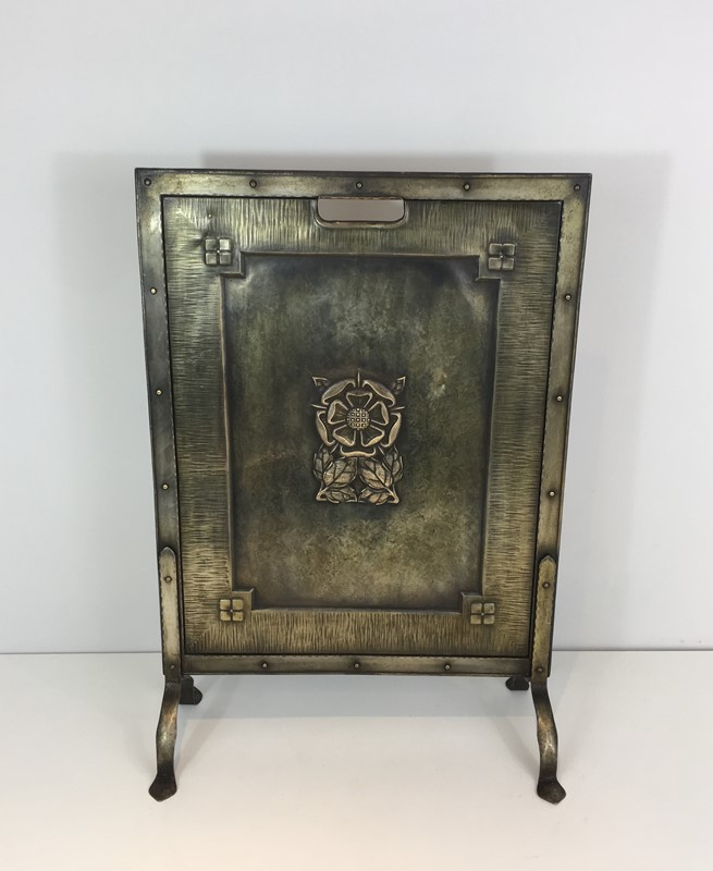 Arts & Crafts Brass and Iron Fire Place Screen. -barrois-antiques-fp-1481-main-636845242845240606.JPG