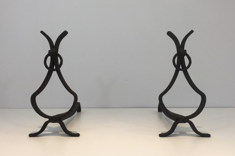 Pair of wrought Iron Andirons. French. Circa 1940-barrois-antiques-fp-1553-main-636839403867733492.JPG