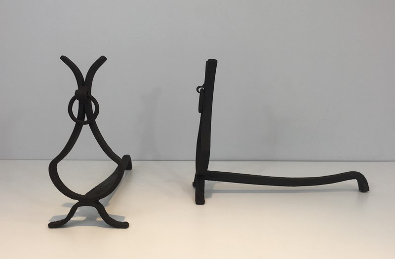 Pair of wrought Iron Andirons. French. Circa 1940-barrois-antiques-fp-1554-main-636839403885388721.JPG