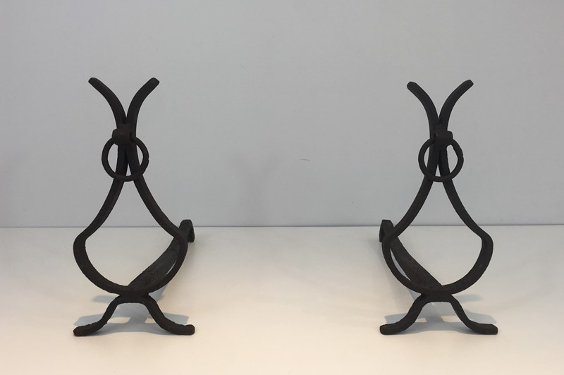 Pair of wrought Iron Andirons. French. Circa 1940-barrois-antiques-fp-1562-main-636839420599258267.JPG