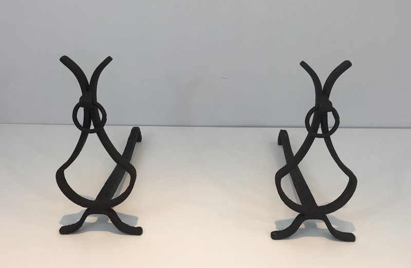 Pair of wrought Iron Andirons. French. Circa 1940-barrois-antiques-fp-1565-main-636839420663320346.JPG