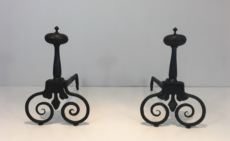 Pair of Wrought Iron Andirons. French. 18th c-barrois-antiques-fp-1566-main-636842812545614930.JPG