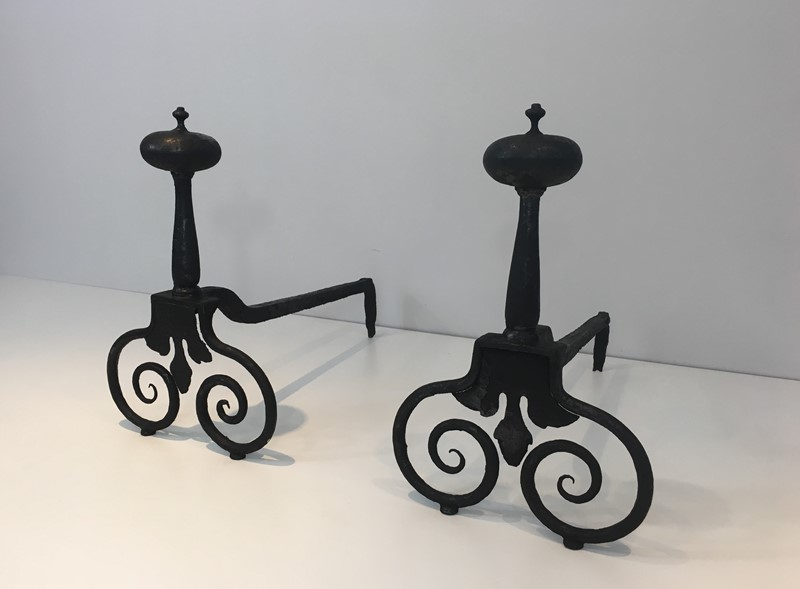 Pair of Wrought Iron Andirons. French. 18th c-barrois-antiques-fp-1567-main-636842811724622150.JPG