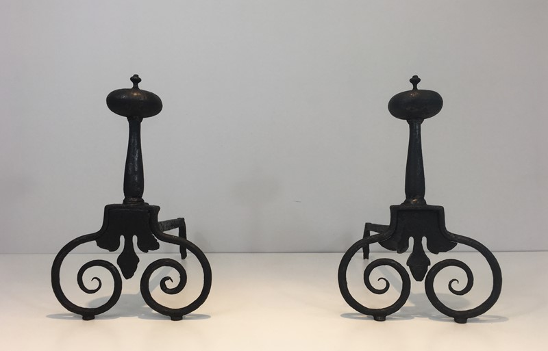 Pair of Wrought Iron Andirons. French. 18th c-barrois-antiques-fp-1568-main-636842811747434435.JPG