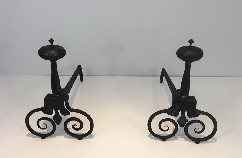 Pair of Wrought Iron Andirons. French. 18th c-barrois-antiques-fp-1569-main-636842811767122212.JPG