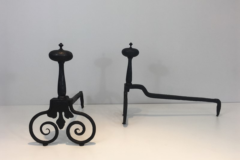 Pair of Wrought Iron Andirons. French. 18th c-barrois-antiques-fp-1570-main-636842811788840824.JPG