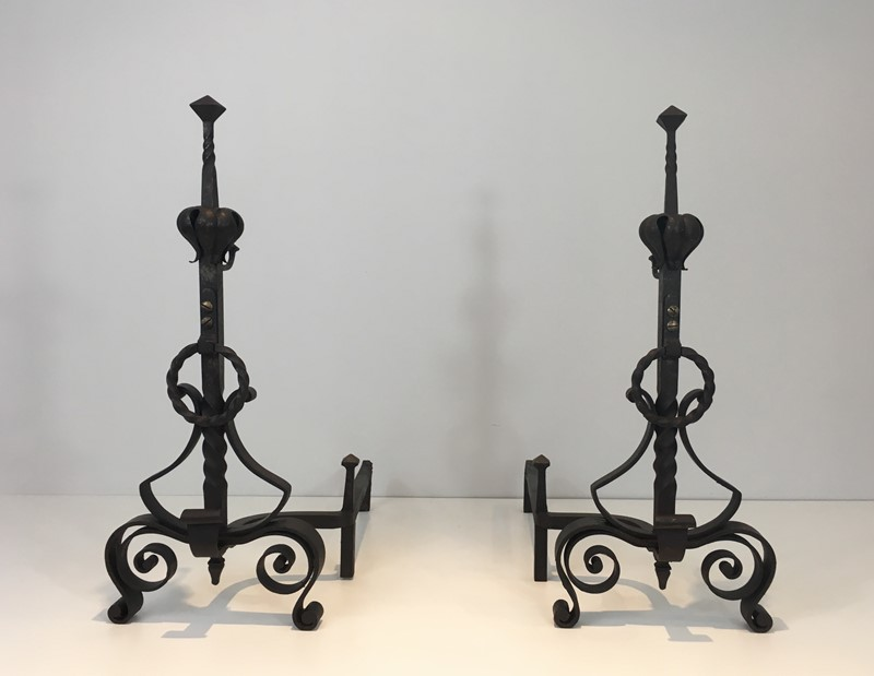 Important Pair of Wrought Iron Andirons. French. -barrois-antiques-fp-1633-main-636844373074832351.JPG