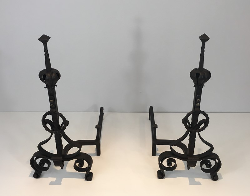 Important Pair of Wrought Iron Andirons. French. -barrois-antiques-fp-1635-main-636844373984646351.JPG
