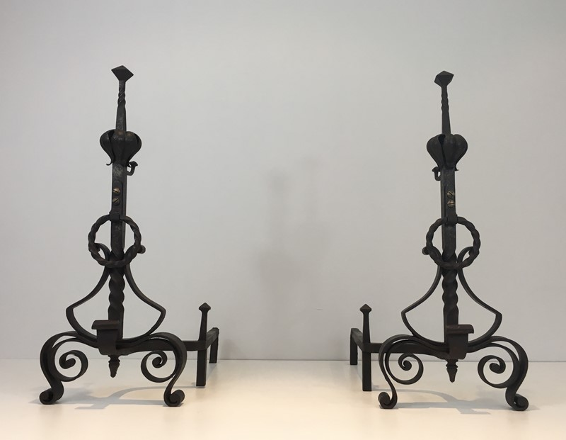 Important Pair of Wrought Iron Andirons. French. -barrois-antiques-fp-1636-main-636844374003396165.JPG
