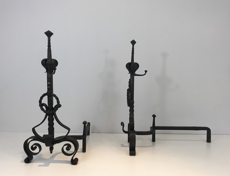 Important Pair of Wrought Iron Andirons. French. -barrois-antiques-fp-1637-main-636844374037927417.JPG