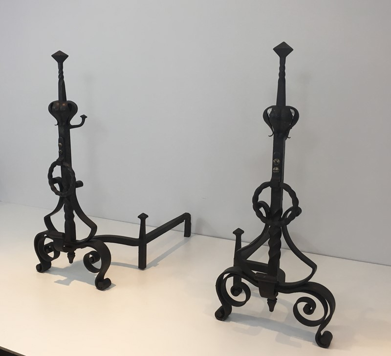 Important Pair of Wrought Iron Andirons. French. -barrois-antiques-fp-1638-main-636844374056365047.JPG