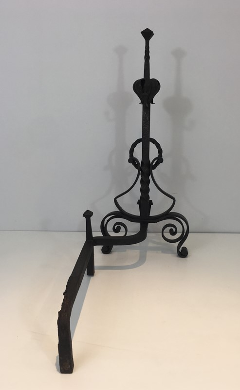 Important Pair of Wrought Iron Andirons. French. -barrois-antiques-fp-1648-main-636844374275897662.JPG