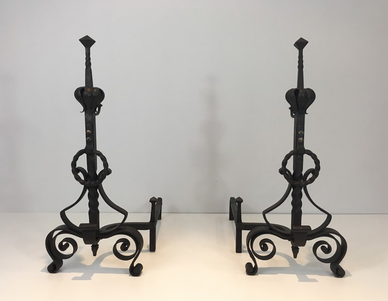 Important Pair of Wrought Iron Andirons. French. -barrois-antiques-fp-1652-main-636844374368554268.JPG