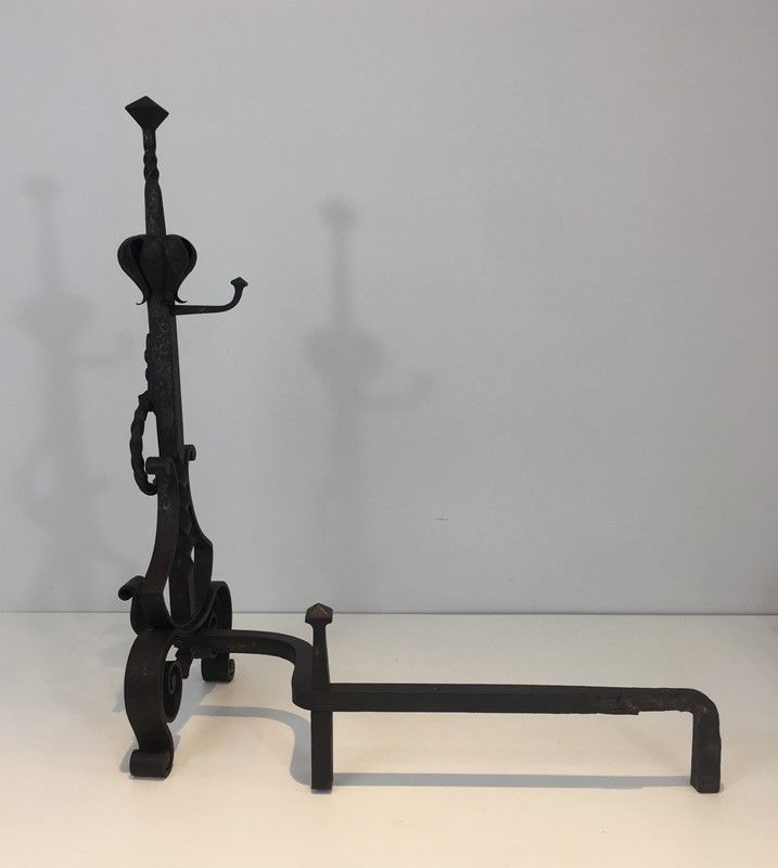 Important Pair of Wrought Iron Andirons. French. -barrois-antiques-fp-1662-main-636844374616686413.JPG
