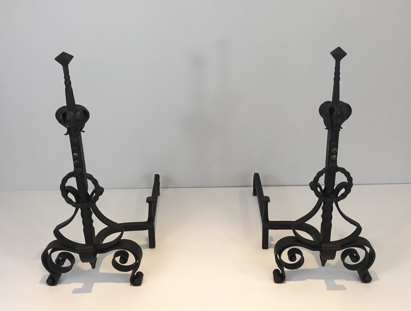 Important Pair of Wrought Iron Andirons. French. -barrois-antiques-fp-1663-main-636844374637928956.JPG