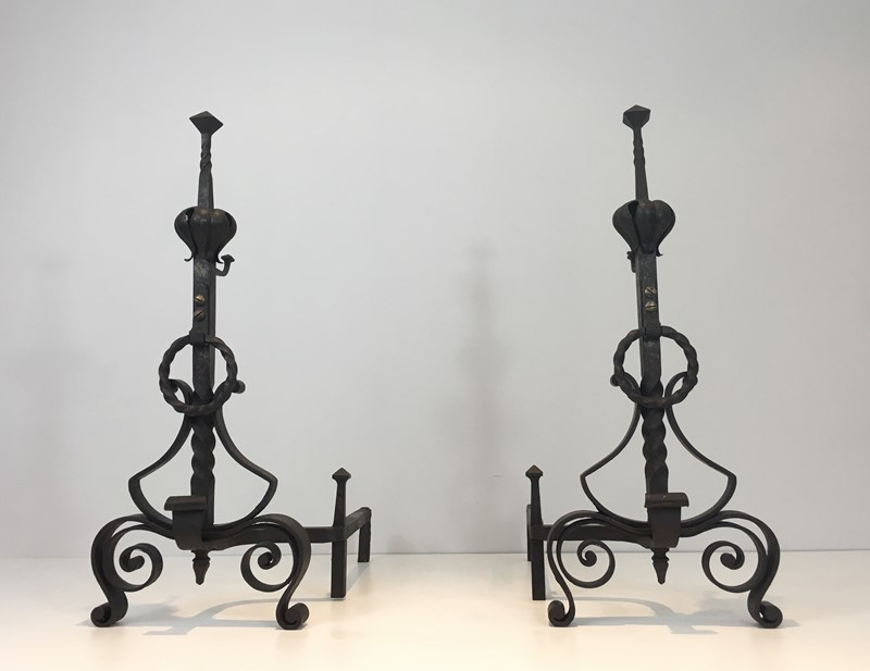 Important Pair of Wrought Iron Andirons. French. -barrois-antiques-fp-1664-main-636844374655428901.JPG