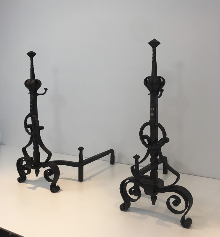 Important Pair of Wrought Iron Andirons. French. -barrois-antiques-fp-1666-main-636844374695273001.JPG