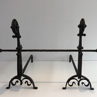 Exceptional Pair of Hammered and Wrought Iron