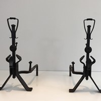Pair of Arts & Crafts Wrought Iron Andirons.
