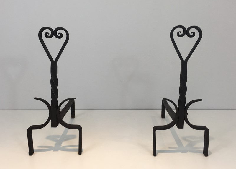 Pair of Twisted Wrought Iron Andirons. French. -barrois-antiques-fp-1874-main-636839445974171806.JPG