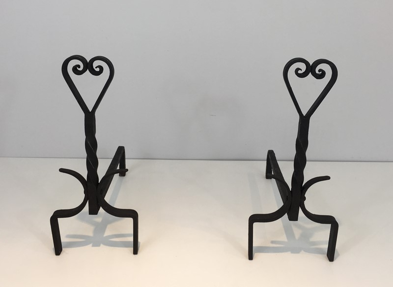 Pair of Twisted Wrought Iron Andirons. French. -barrois-antiques-fp-1875-main-636839445995111081.JPG