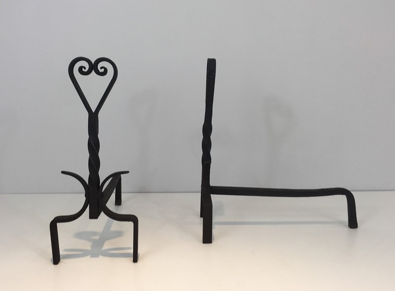 Pair of Twisted Wrought Iron Andirons. French. -barrois-antiques-fp-1876-main-636839446017764883.JPG