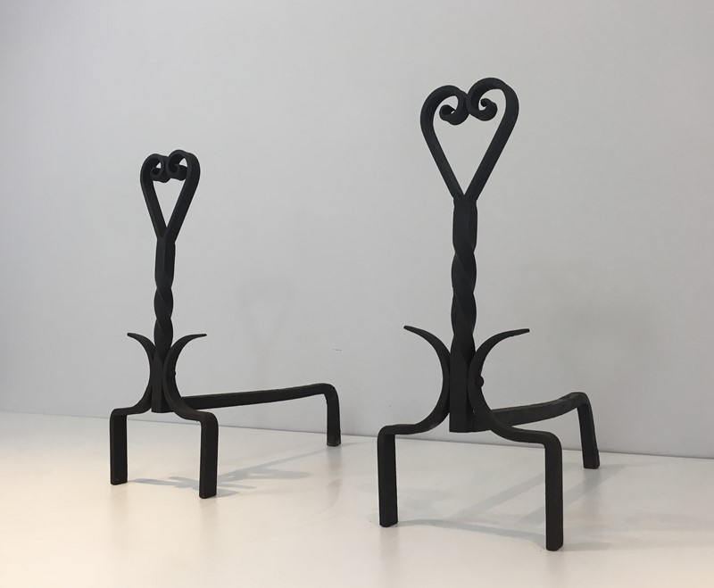 Pair of Twisted Wrought Iron Andirons. French. -barrois-antiques-fp-1877-main-636839446040733528.JPG