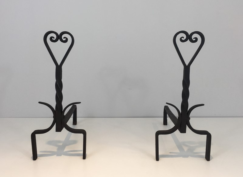 Pair of Twisted Wrought Iron Andirons. French. -barrois-antiques-fp-1890-main-636839446310263031.JPG