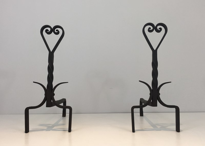 Pair of Twisted Wrought Iron Andirons. French. -barrois-antiques-fp-1891-main-636839446327606845.JPG