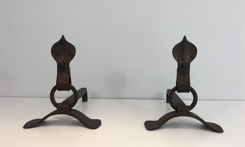 Pair of Modernist Wrought Iron Andirons. French-barrois-antiques-fp-1893-main-636842957553725089.JPG