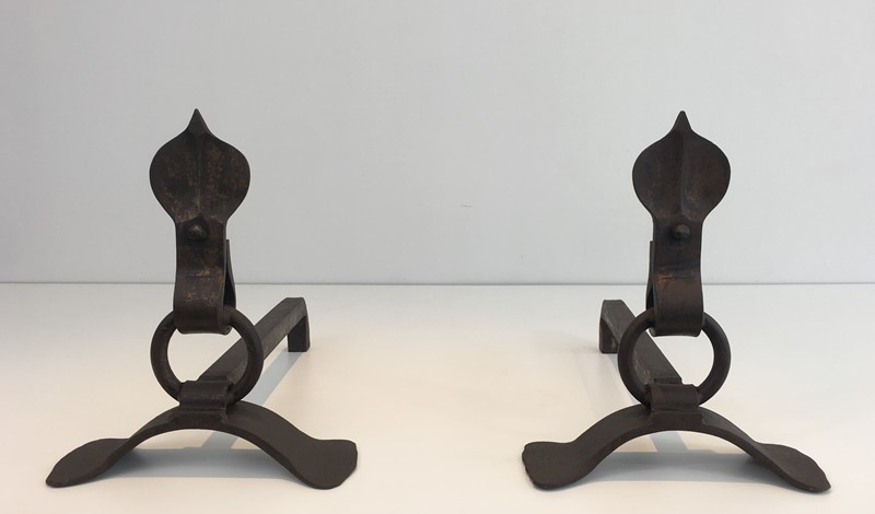 Pair of Modernist Wrought Iron Andirons. French-barrois-antiques-fp-1895-main-636842957855946505.JPG
