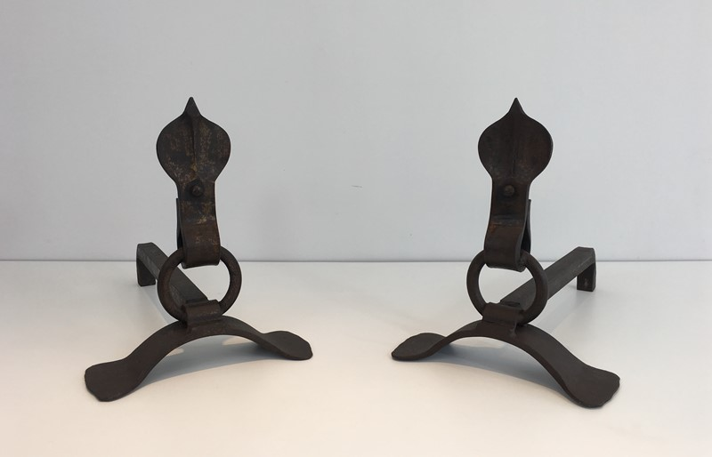 Pair of Modernist Wrought Iron Andirons. French-barrois-antiques-fp-1896-main-636842958106697835.JPG