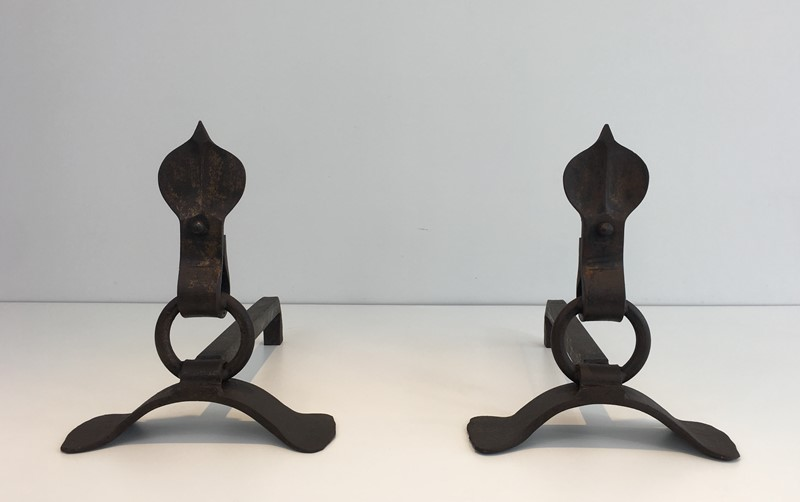 Pair of Modernist Wrought Iron Andirons. French-barrois-antiques-fp-1904-main-636842959405515526.JPG