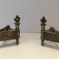 Pair of Empire Period Bronze Andirons. French.