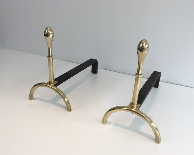 Pair of Neoclassical Style Brass and Iron Andirons-barrois-antiques-fp-2538-main-637247148471461053.JPG