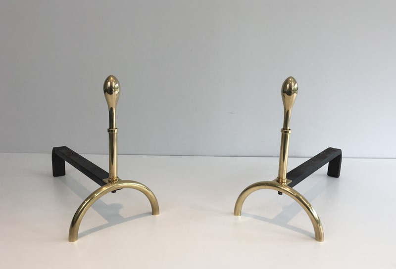 Pair of Neoclassical Style Brass and Iron Andirons-barrois-antiques-fp-2539-main-637247148858530506.JPG