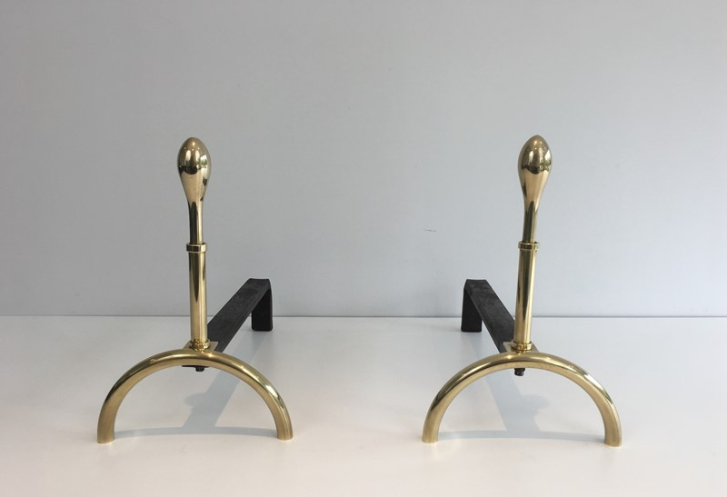 Pair of Neoclassical Style Brass and Iron Andirons-barrois-antiques-fp-2540-main-637247148876967431.JPG