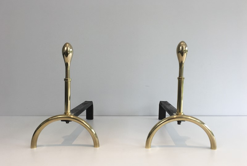 Pair of Neoclassical Style Brass and Iron Andirons-barrois-antiques-fp-2546-main-637247148997279926.JPG