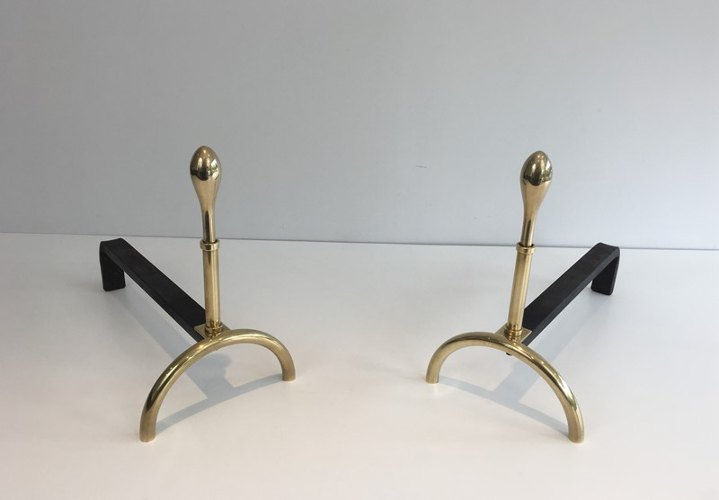 Pair of Neoclassical Style Brass and Iron Andirons-barrois-antiques-fp-2549-main-637247149456752921.JPG