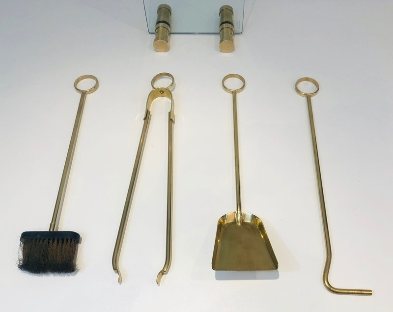 Brass and Glass Fire Place Tools Set. Circa 1970-barrois-antiques-fp-2901-main-637445027720909289.jpg