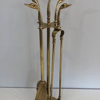 Maison Jansen S. Brass Ducks Head Fire Place Tools