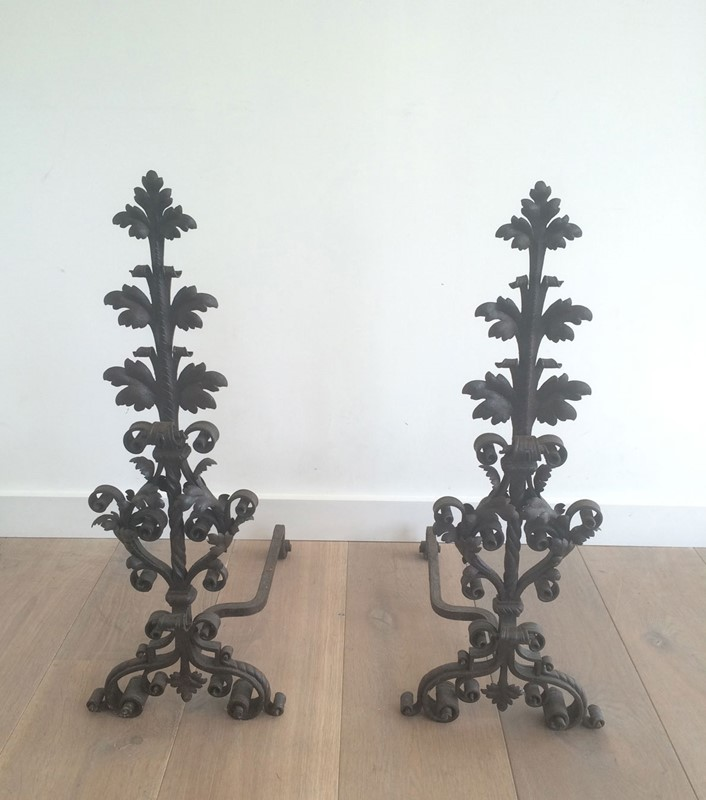 Beautiful pair of wrought iron andirons. -barrois-antiques-fp-360-main-636844387680274312.jpg