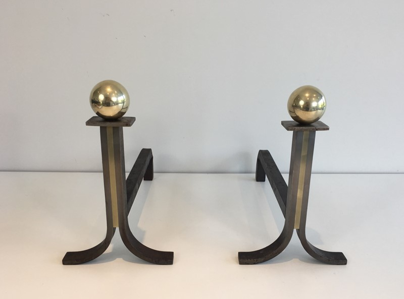 . Pair of Modernist Steel, Iron and Brass Andirons-barrois-antiques-fp-688-main-636842825914906847.JPG