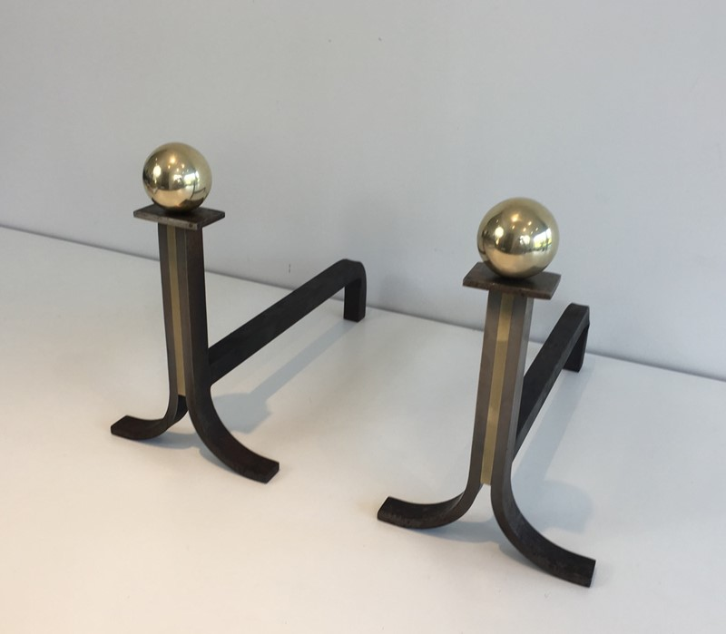 . Pair of Modernist Steel, Iron and Brass Andirons-barrois-antiques-fp-690-main-636842826054808006.JPG
