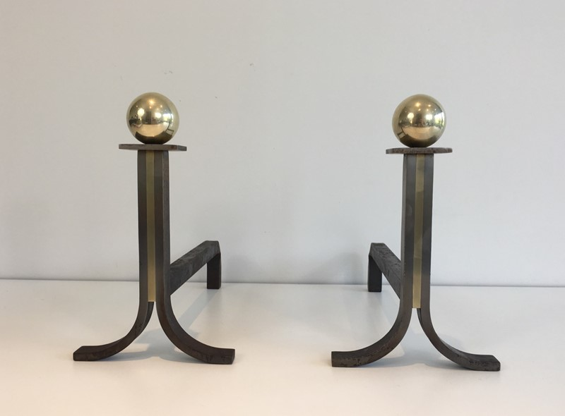 . Pair of Modernist Steel, Iron and Brass Andirons-barrois-antiques-fp-691-main-636842826060902623.JPG