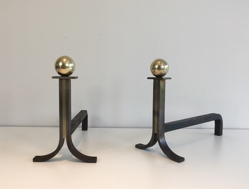 . Pair of Modernist Steel, Iron and Brass Andirons-barrois-antiques-fp-692-main-636842826065745785.JPG
