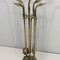 Neoclassical Fire place Tools In Brass With Duck