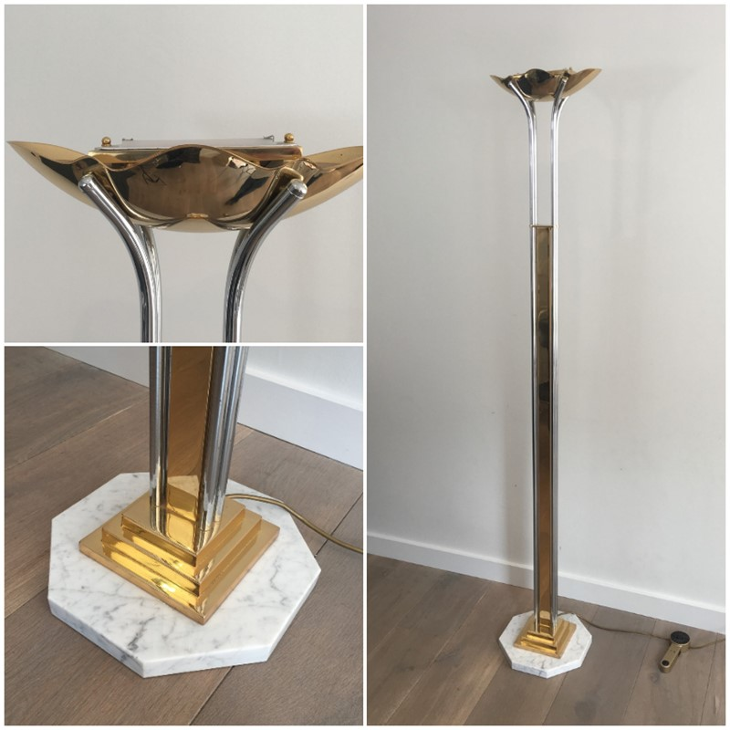 Brass, Chrome and Marble Floor Lamp-barrois-antiques-lamp-main-637210255068305148.jpg