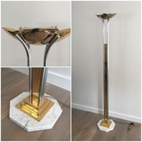 Brass, Chrome and Marble Floor Lamp