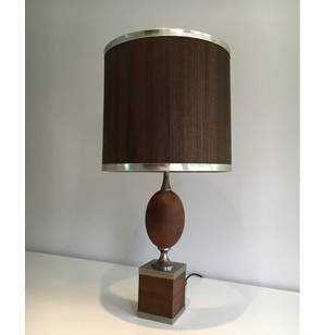 Egg lamp with wooden shade